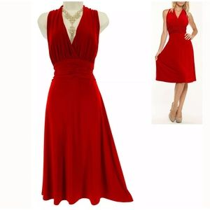 16 XL 1X▪️RED RUCHED WAIST MIDI DRESS Plus Size
